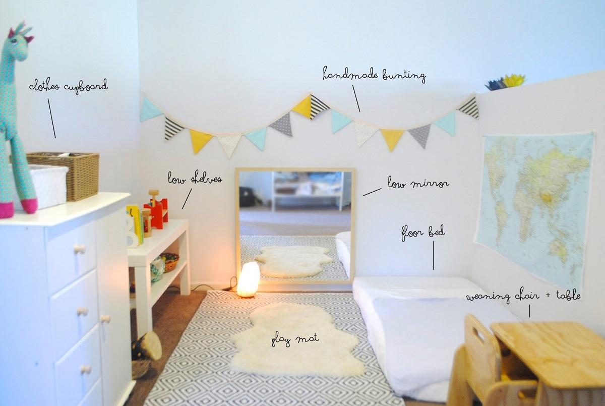 Un exemplu de camera construita pe principiile Montessori