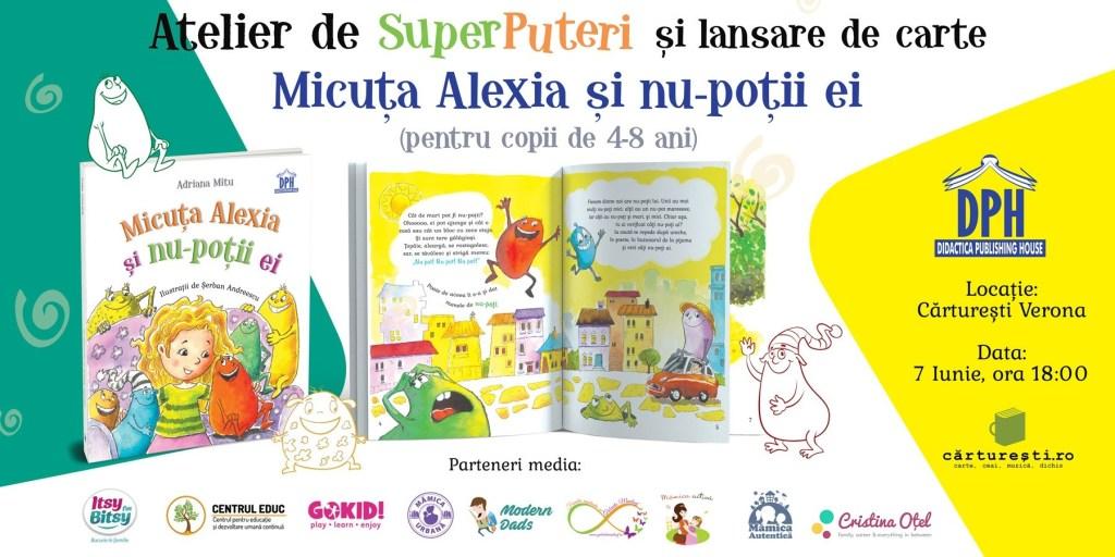 "Adriana Mitu lanseaza cartea ""Micuta Alexia si nu-potii ei"""