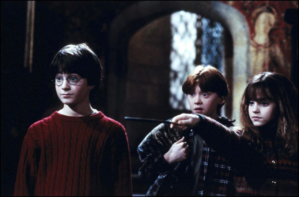 "UNITED STATES - NOVEMBER 01: Film ""Harry Potter and the philosopher's stone"" In United States In November, 2001-Harry Potter, Ron, Hermione . (Photo by 7831/Gamma-Rapho via Getty Images)"