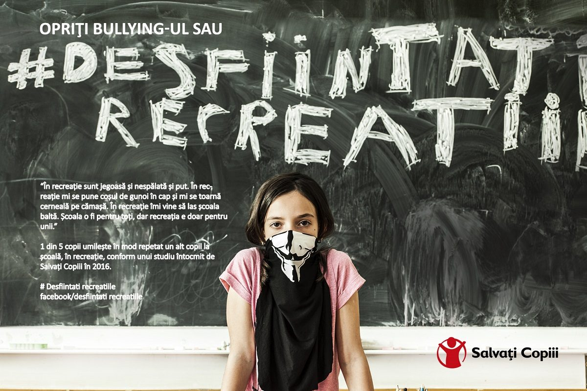 "Salvati Copiii Romania lanseaza campania ""Opriti bullying-ul sau desfiintati recreatiile!"""
