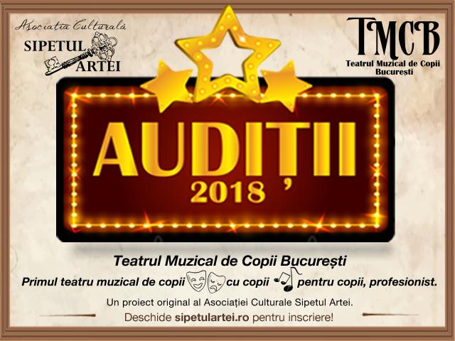 Auditii 2018 pentru Teatrul Muzical de Copii Bucuresti